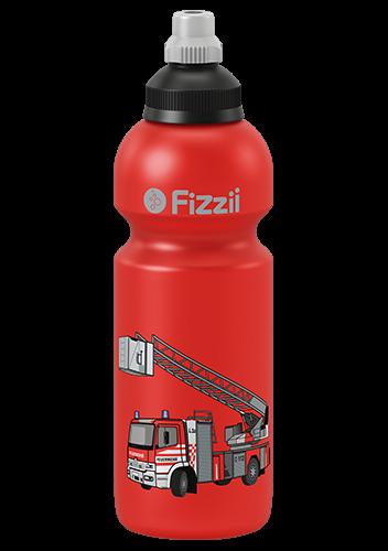 Fizzii Feuerwehr, 600 ml Kindertrinkflasche Rot, Verschluss: Schwarz/Silber