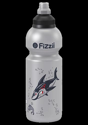 Fizzii Hai, 600 ml Kindertrinkflasche Silber, Verschluss: Schwarz/Silber