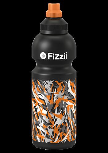 Fizzii Graffiti, 600 ml Kindertrinkflasche Schwarz, Verschluss: Schwarz/Orange