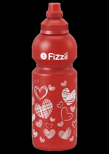 Fizzii Herzen, 600 ml Kindertrinkflasche Rot, Verschluss: Rot