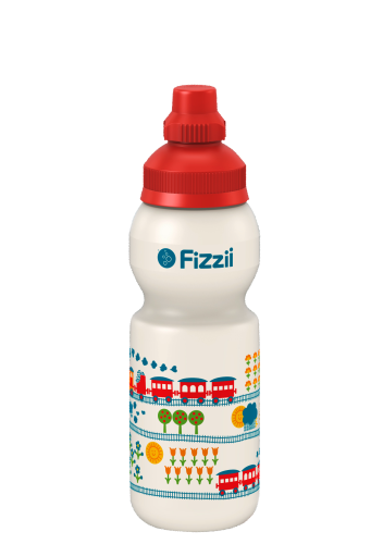 Fizzii Eisenbahn byGraziela, 330 ml Kindertrinkflasche, Farbe: Perlweiß, Verschluss: Rot