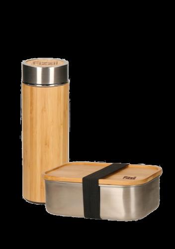 Fizzii-Set Thermoflasche Tea2Go Wood und Edelstahlbrotdose Vesper