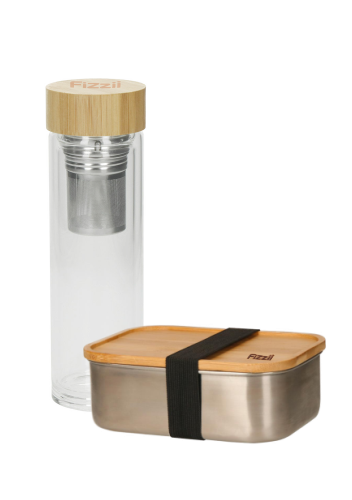 Fizzii-Set Thermoflasche Tea2Go Glass und Edelstahlbrotdose Vesper
