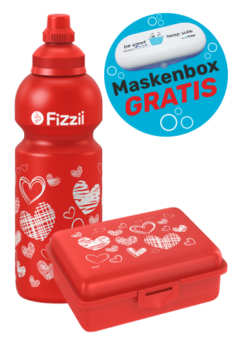 Fizzii Set Herzen, Rot mit Maskenbox