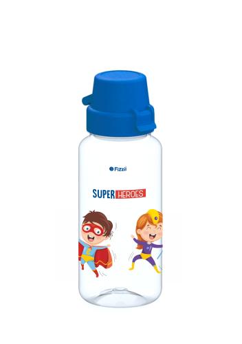 Bambini Superheroes 400 ml Tritan-Kindertrinkflasche mit blauem Klappverschluss
