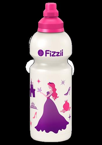 Fizzii Prinzessin, 600 ml Kindertrinkflasche Perlweiß, Verschluss: Pink