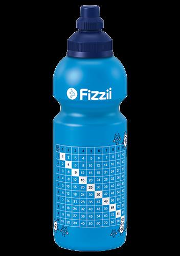 Fizzii 1x1, 600 ml Kindertrinkflasche Cyan, Verschluss: Blau dunkel 281c