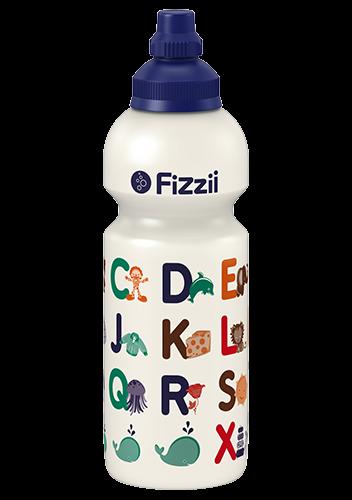 Fizzii ABC, 600 ml Kindertrinkflasche Perlweiß, Verschluss: Blau dunkel 281c