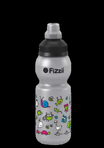 Fizzii Tierwelt, 330 ml Kindertrinkflasche, Farbe: Silber, Verschluss: Schwarz/Silber