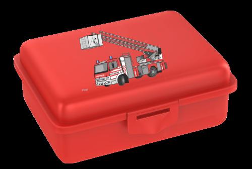 Fizzii Kinderbrotdose mit Feuerwehr-Motiv in rot