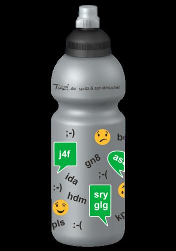 Fizzii Online, 600 ml Kindertrinkflasche Silber, Verschluss: Schwarz/Silber