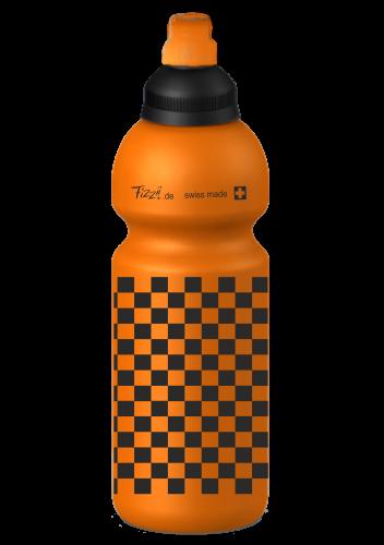 Fizzii Kindertrinkflasche 600ml Orange Schachmuster