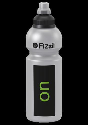 Fizzii On-Off, 600 ml Kindertrinkflasche Silber, Verschluss: Schwarz/Silber