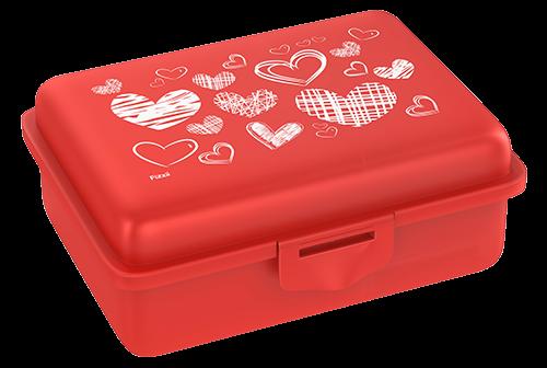Fizzii Herzen, Lunchbox Rot mit Trennfach