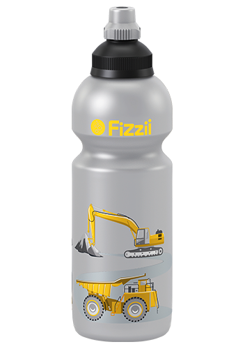 Fizzii Baustelle, 600 ml Kindertrinkflasche Silber, Verschluss: Schwarz/Silber