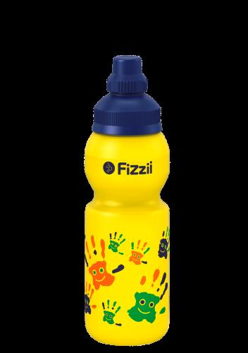 Fizzii Hände, 330 ml Kindertrinkflasche, Farbe: Gelb, Verschluss: Blau dunkel 281c