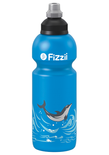 Fizzii Delfin, 600 ml Kindertrinkflasche Cyan, Verschluss: Schwarz/Silber