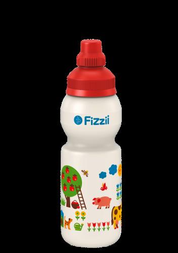 Fizzii Bauernhof byGraziela, 330 ml Kindertrinkflasche, Farbe: Perlweiß, Verschluss: Rot