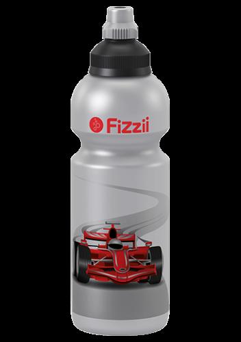 Fizzii Rennwagen, 600 ml Kindertrinkflasche Silber, Verschluss: Schwarz/Silber