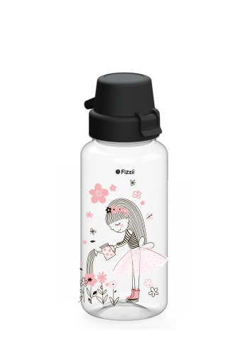 Bambini Flowergirl 400 ml Tritan-Kindertrinkflasche mit schwarzem Klappverschluss