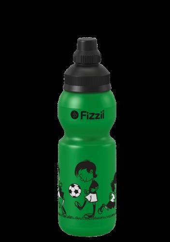 Fizzii Fußballjungs, 330 ml Kindertrinkflasche, Farbe: Grün, Verschluss: Schwarz