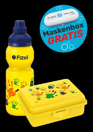 Fizzii Set Hände, Gelb mit Maskenbox
