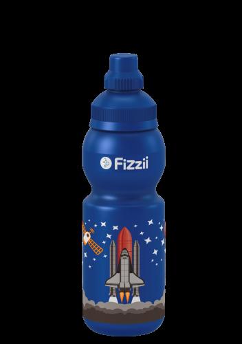 Fizzii Mini Weltraum, 330 ml Kindertrinkflasche Blau, Verschluss: Blau mittel 287c