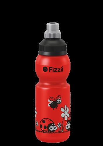Fizzii Marienkäfer, 330 ml Kindertrinkflasche, Farbe: Rot, Verschluss: Schwarz/Silber