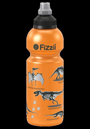 Fizzii Dino, 600 ml Kindertrinkflasche Orange-Metallic, Verschluss: Schwarz/Silber