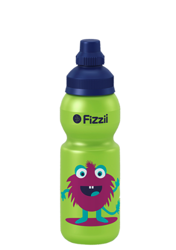 Fizzii Monster-Kids, 330 ml Kindertrinkflasche, Farbe: Kiwi, Verschluss: Blau dunkel 281c