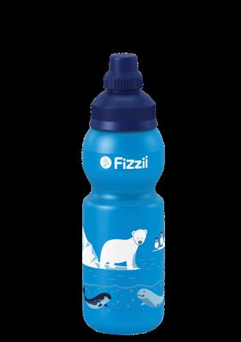 Fizzii Eiswelt, 330 ml Kindertrinkflasche, Farbe: Cyan, Verschluss: Blau 281c